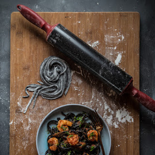 Homemade Squid Ink Pasta With Shrimp And Garlicky Tomato Sauce.