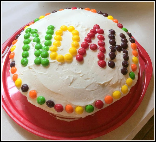 Add your skittles into the center of the bundt cake and then ice as...