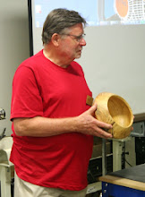 Photo: Richard Webster brought a nice hackberry bowl with a unique shape.