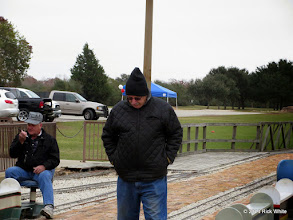 Photo: Conductor Randy at left with Gearld Lee from northern Ohio looking down to keep face out of the bitter wind.    HALS Public Run Day 2014-1115 RPW