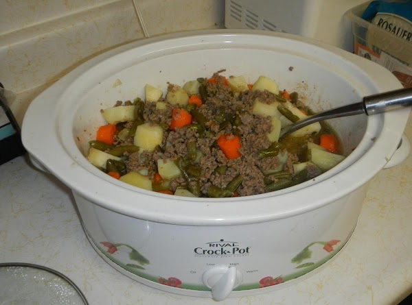 picture  of recipe 1/2 cooked.Watch our added water...you do not want it to...