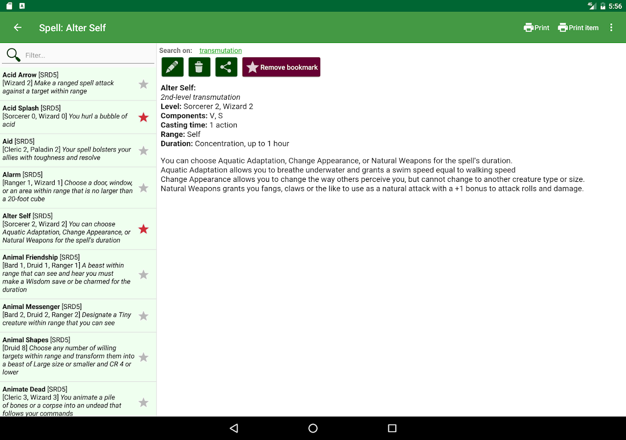 complete reference for dnd 5 android apps on google play