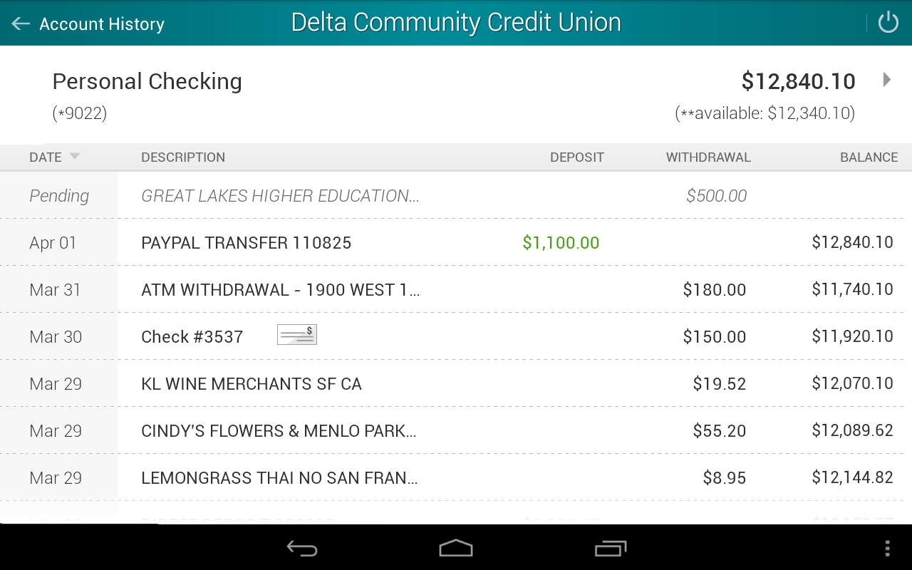 Delta Community Credit Union- screenshot