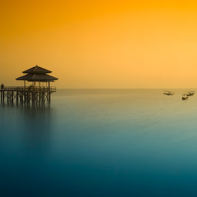 Blue and Yellow by Saiful N. Firmansyah - Landscapes Beaches ( shore, waterscape, seascapes, sea, beach, seascape, waterscapes, landscape, kenjeran, indonesia, kenji, east java, landscape photography, java, sunrise, landscapes,  )