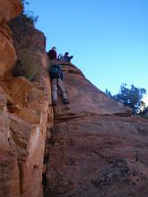 Photo: Downclimbing the NPS moqui steps