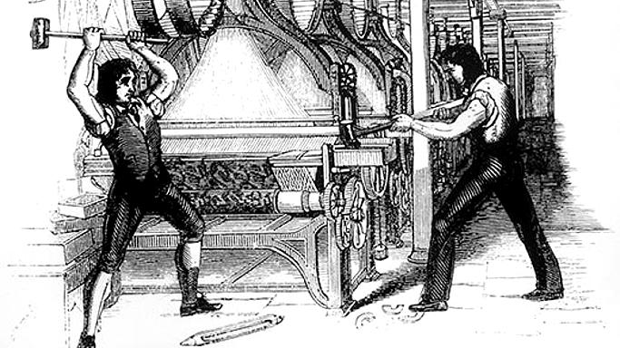 Image result for image of luddites in industrial revolution
