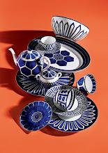"""Photo: HERMES """"Bleus d'Ailleurs"""" porcelain dinnerware collec- tion. Five-piece place setting. $595. Accessories. $140–$1,800. France. Seventh Floor. 212 872 2686"""