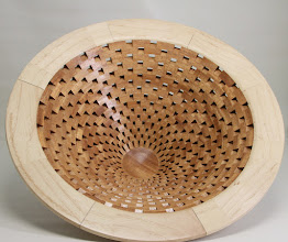 "Photo: Bob Grudburg 4 1/4"" x 9""  open segmented bowl [satin wood, red heart]"