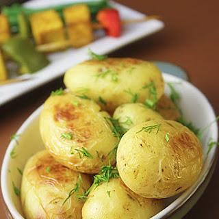 Turmeric Tofu Skewers, Baby Potatoes and Portobello Mushrooms
