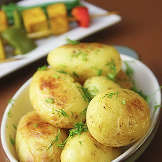 Turmeric Tofu Skewers, Baby Potatoes and Portobello Mushrooms.