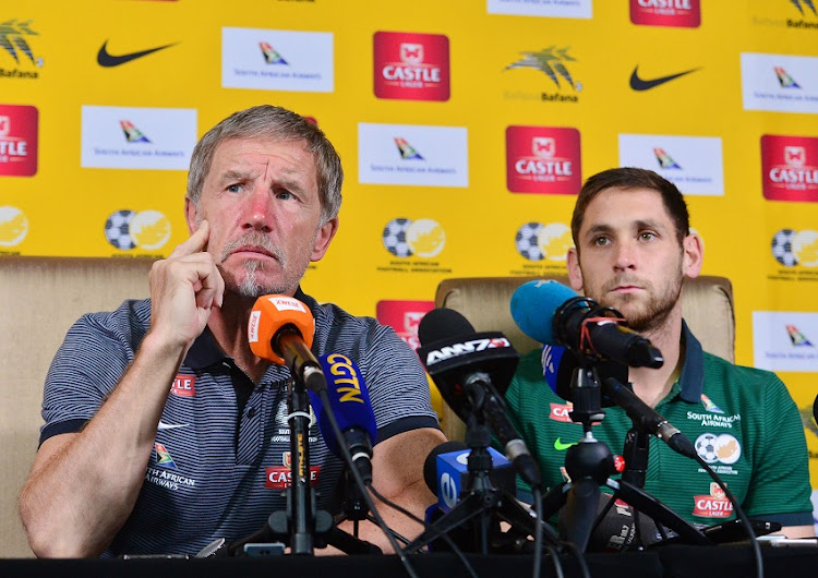Stuart Baxter, coach of South Africa and Dean Furman during the 2018 FIFA World Cup Qualifier South Africa press conference at Fusion Boutique Hotel, Polokwane on 09 November 2017.