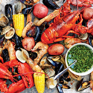 Shellfish Boil with Spicy Green Dipping Sauce.