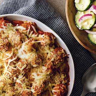 Meatball Sub Casserole with Zucchini Onion Salad Recipe