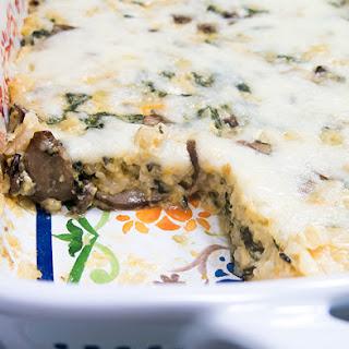 Spinach Mushroom Cheesy Rice Casserole.