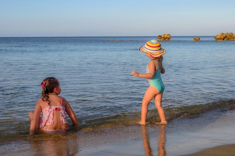 Девочки, Дети, Ребенок, Люди, Шляпа, Летом, Пляж, Море