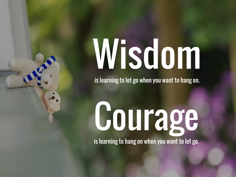 Wisdom is learning to let go when you want to hang on. Courage is learning to hang on when you want to let go.
