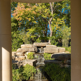 water feature by Bert Templeton - City,  Street & Park  City Parks ( fountain, pillars, green, texas, water, sun, worth, japanese, feature, stream, waterfall, shadows, garden, fort, fort worth )