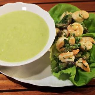 Asparagus Vichyssoise with Shrimp Salad.