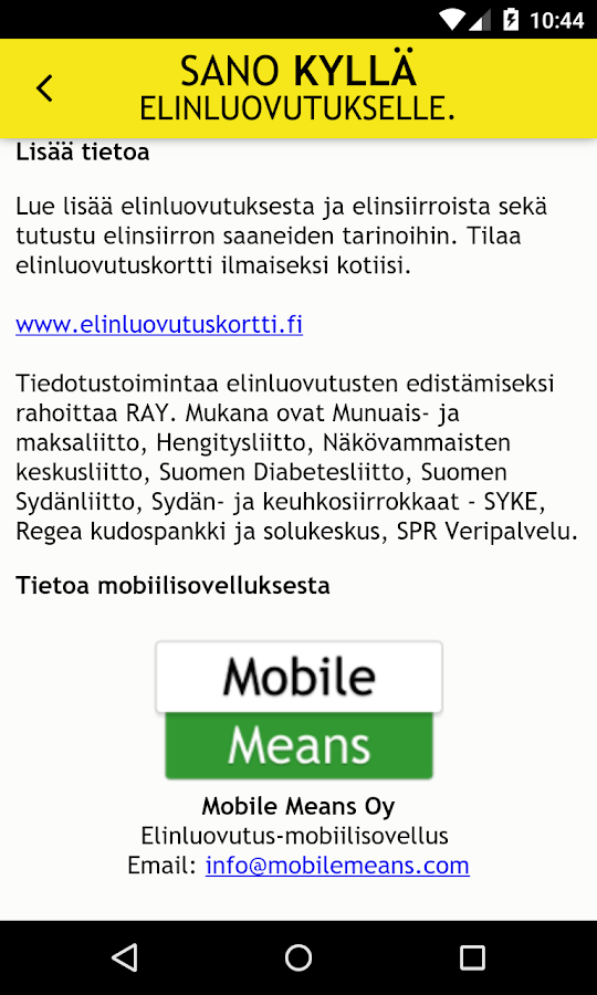 Elinluovutus- screenshot