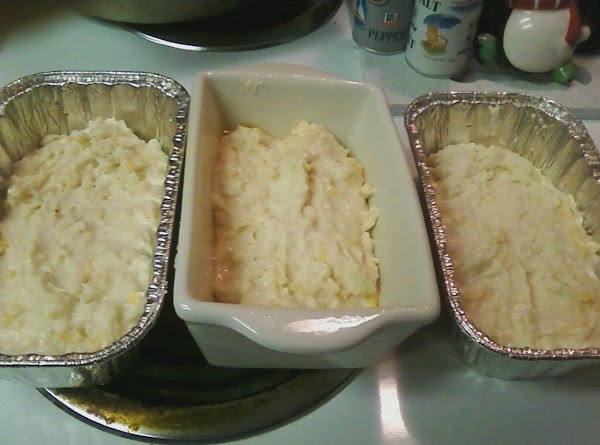 """Turn batter into 3 greased loaf pans (6x3x2""""). Bake in a pre-heated 350-degree oven..."""