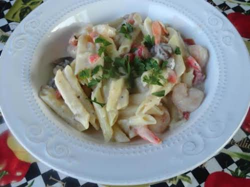 "Shrimp and Roasted Red Pepper Alfredo""The family loved it!"" - waterlee"