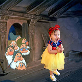 Snow White visits the Seven Dwarfs by Mike Zegelien - Babies & Children Toddlers ( cartoon, pretend, seven dwarfs, photoshop, snow white, halloween,  )