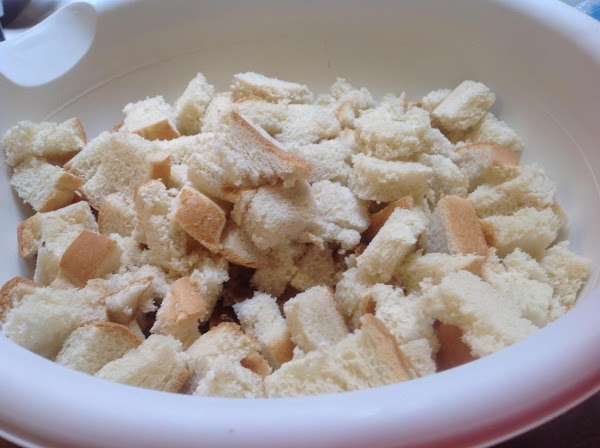 Cut bread into cubes, and leave out on counter over night or toast lightly...