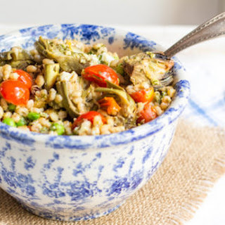 Springtime Barley Pilaf with Baby Artichokes, Peas, and Mint Pesto