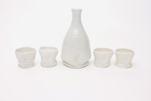 Sandy Lockwood Porcelain Sake Bottle and Cups