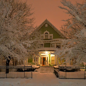 Snowy Night by Karen Carnahan - Buildings & Architecture Homes ( history, illinois, snow, joliet, homes )