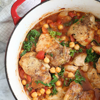Tabasco Braised Chicken with Chickpeas and Kale.