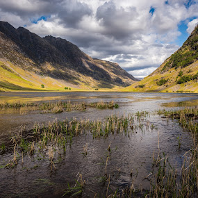 Glen by Haim Rosenfeld - Landscapes Waterscapes ( exposure, scotland, old, glencoe, mountain, europe, colorful, land, stone, rock, north, long, landscape, adventure, sky, kingdom, shadow, dreamlike, nikon, light, lonely, foreground, clouds, orange, celtic, colors, green, scottish, horizon, image, brawn, lake, scenic, highlands, photo, blue, outdoor, brown, scenery, britain )