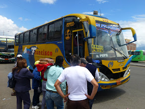 Photo: On the outskirts of Ambato, buses left for Banos every ten minutes.  Fare for the hour long ride: $1.