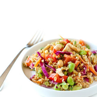 Thai Freekeh Salad with Peanut Ginger Dressing