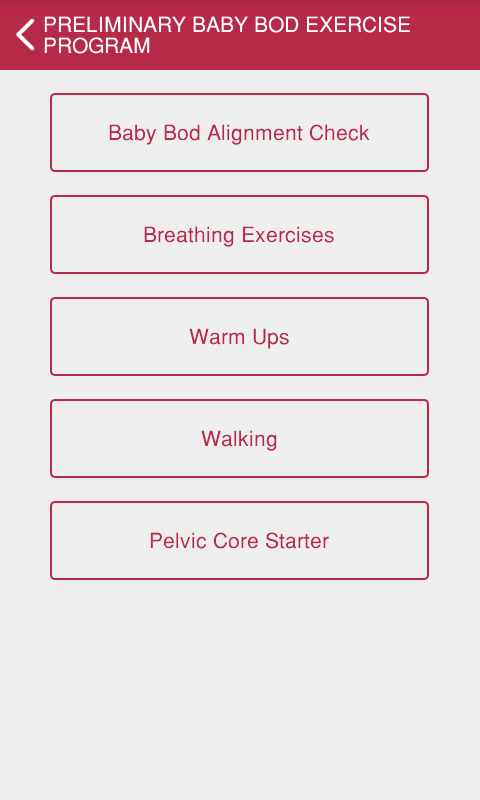 Baby Bod Exercise Tracker- screenshot