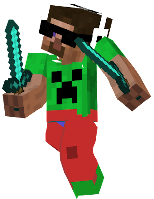 this skin gives you a creeper shirt wich i like some red pants green shoes glasses and a headphones. please tell me if you have any bugs with the skin.