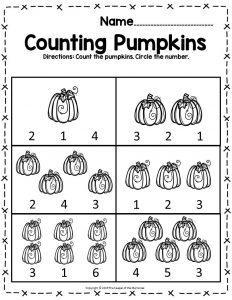 Pumpkin Math Halloween Preschool Worksheet Counting Pumpkins