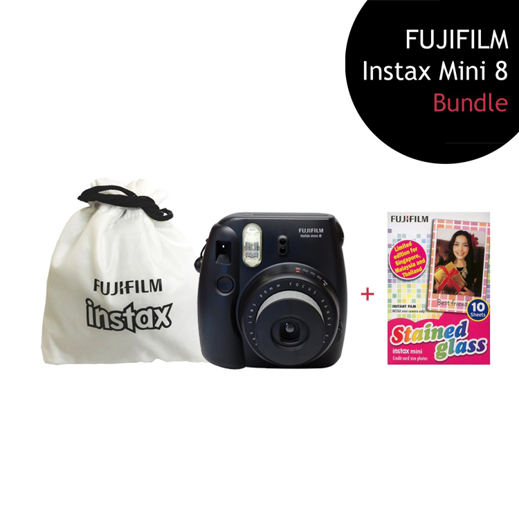 [Bundle] FUJIFILM Instax Mini 8 Camera (Black) + Stained Glass Film Pack + Instax Pouch by My Pocket Net Sdn Bhd