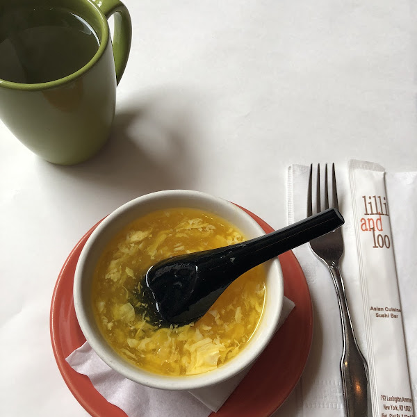 GF egg drop soup and hot tea