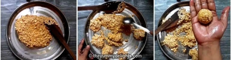 rolling the sesame seeds and jaggery mixture to small balls for making til ladoo