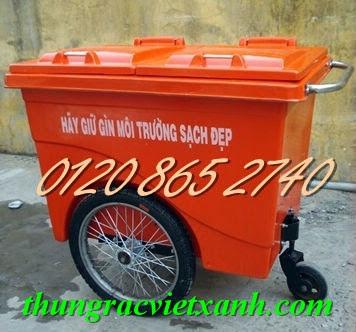 Xe gom rác 660L nhựa composite
