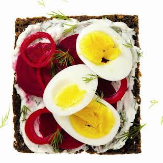 Swedish-style Egg, Dill and Beet on Dark Rye.