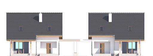 Biała z garażem i wiatą bliźniak A1-BL - Elewacja tylna