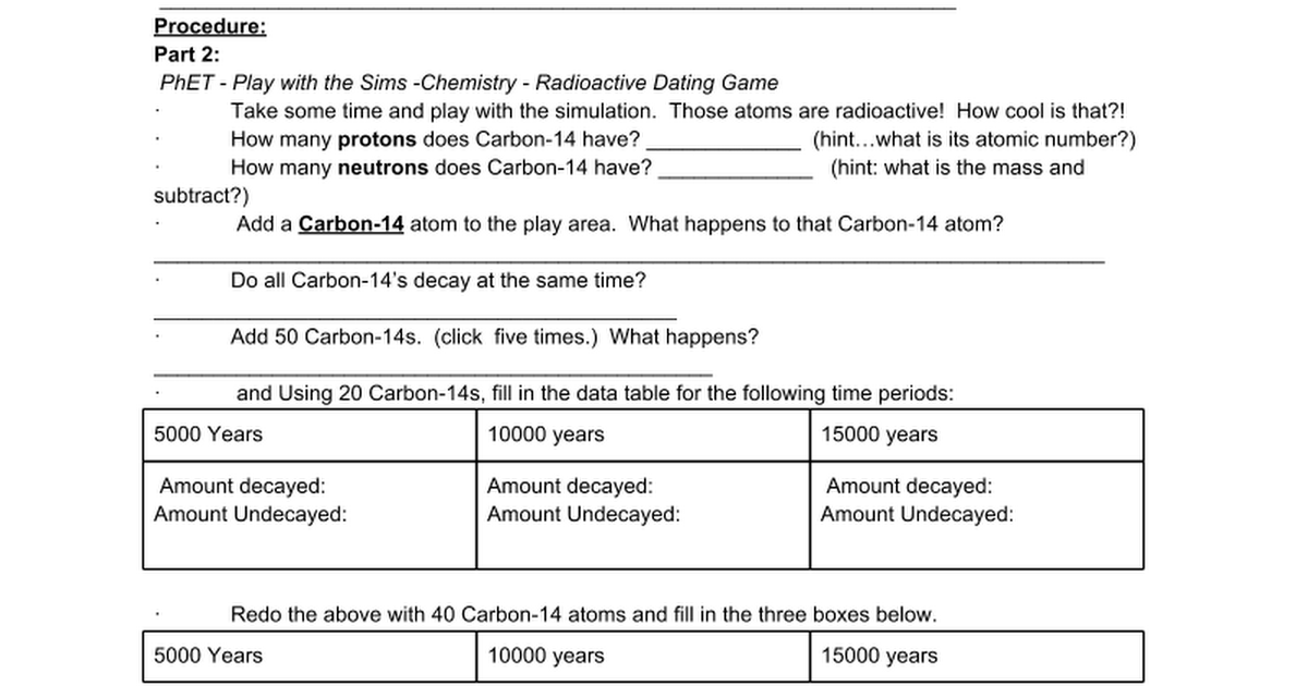 Radiactive Dating Phet Simulation Activity Google Docs