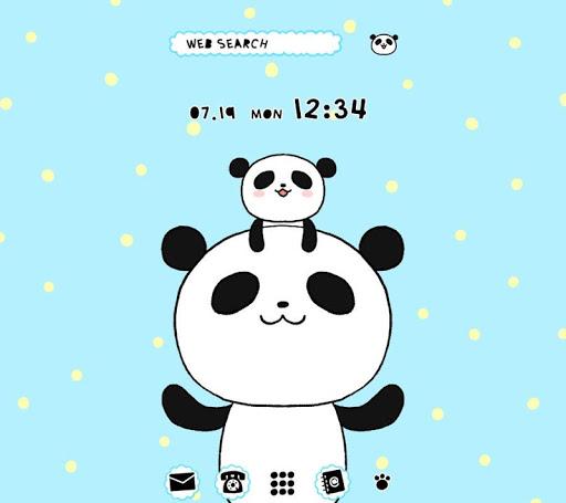 パンダの親子 壁紙きせかえ
