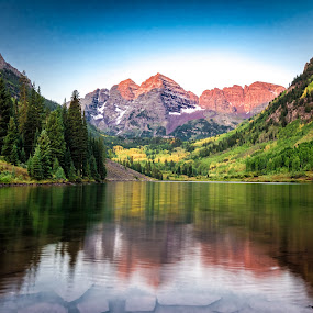 Alpine Glow @ Maroon Bells by Matt Workman - Landscapes Mountains & Hills ( water, reflection, mountains, colorado, landscape photography, sunrise, landscapes, landscape )