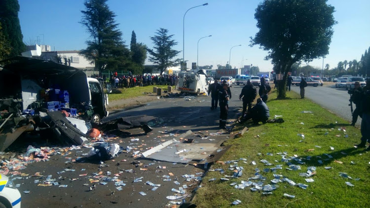 The messy crime scene on Atlas Road in Boksburg.