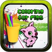 No internet Coloring game Paint Brush Pig Painbox