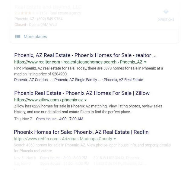 "Google Search for ""Realty Phoenix"" –Organic results"