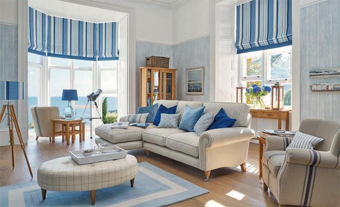 Chọn gam màu trắng xanh cho phòng khách để đón tài lộc